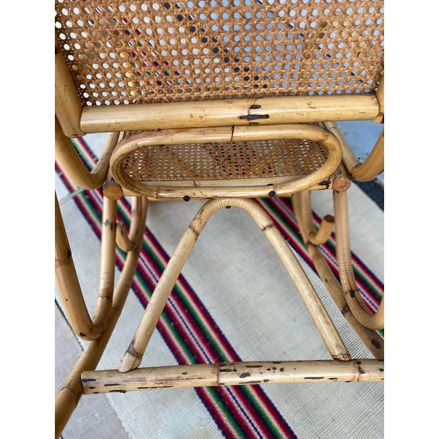 Vintage Mid Century Modern Tiki Bent Bamboo Wood Rocking Chair For Sale - Image 9 of 13