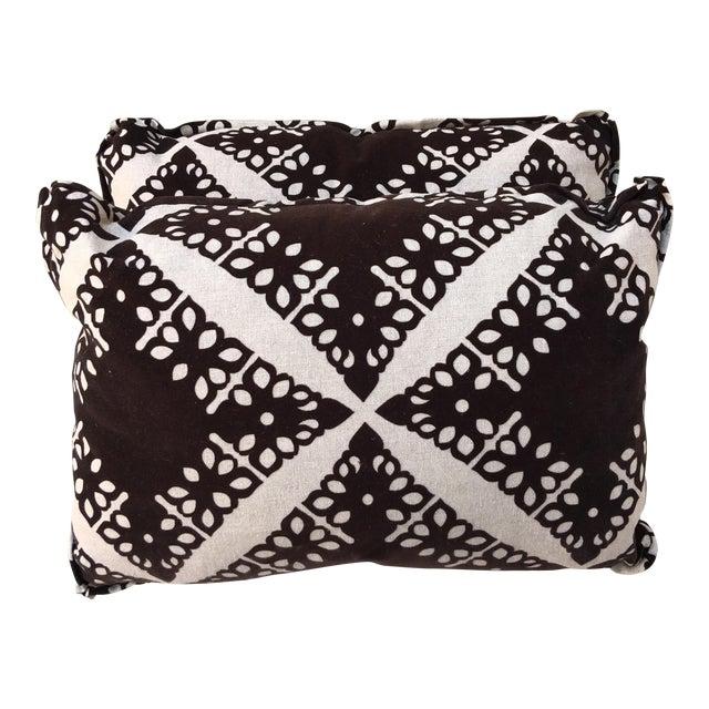 Black Velvet & Silver Pillows - Pair - Image 1 of 5