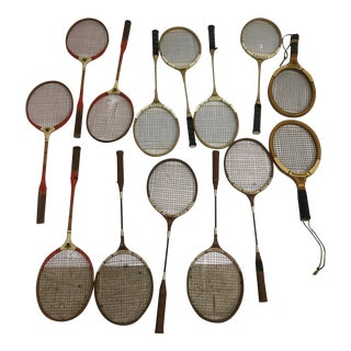 Vintage Wood & Metal Racquet Lot - Great Sports Wall Decor For Sale