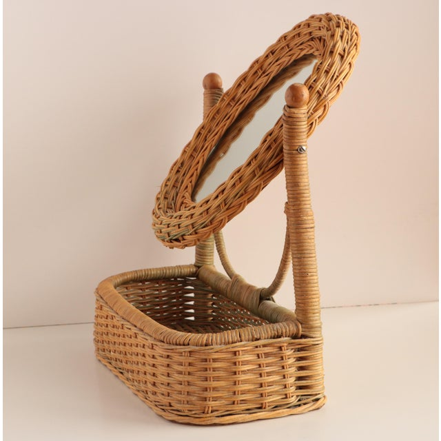 Boho Chic Wicker Vanity Mirror With Storage For Sale - Image 3 of 6