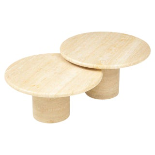 Italian 1970's Travertine Circular Coffee Tables - a Pair For Sale