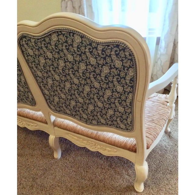 Antique Styled White Country French Provential Rush Seat Settee For Sale - Image 9 of 13
