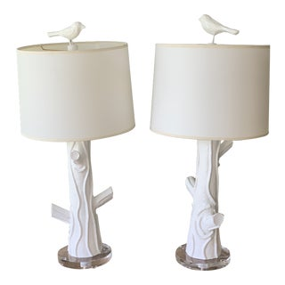 Stray Dog Faux Bois Lamps - a Pair For Sale