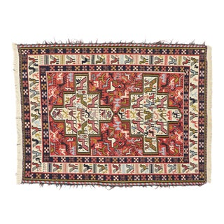 Vintage Persian Soumak Kilim Rug With Caucasian Tribal Style - 03'04 X 04'04 For Sale