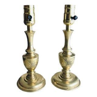1950s Petite Decorative 20th Century Brass Table / Bedside Lamps - a Pair For Sale