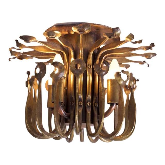 One of a Kind Solid Bronze Brutalist Studio Flush Mount Handcrafted For Sale