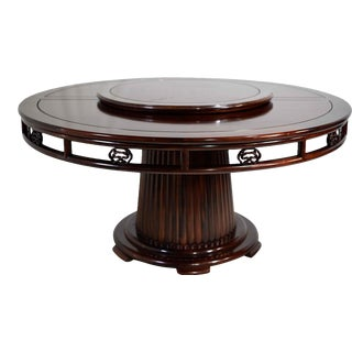 Vintage Chinoiserie Lazy Susan Rosewood Round Fluted Pedestal Dining Table For Sale