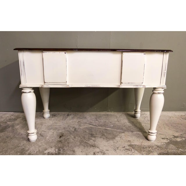 Cottage Vintage Original Light Distressed Entry Two Drawer Console Table For Sale - Image 3 of 7