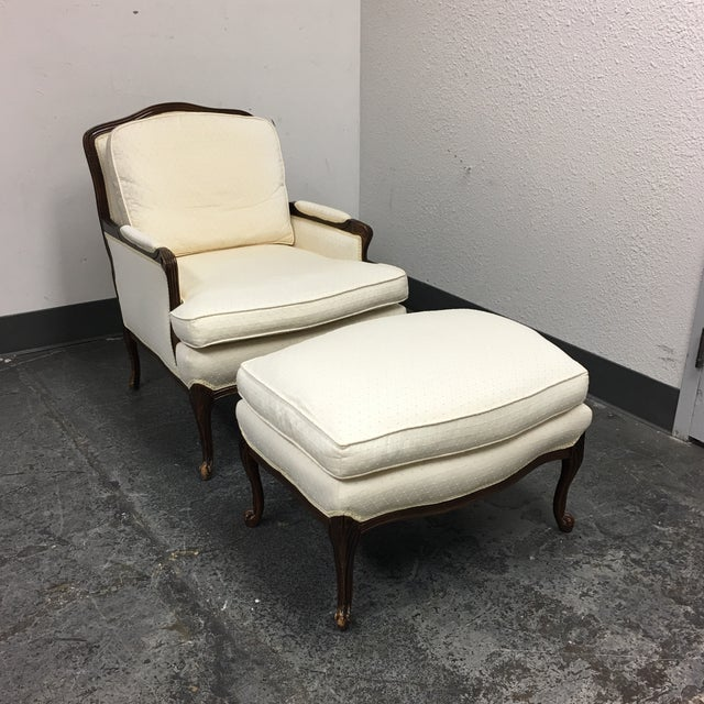 French Style Bergere Chair Amp Ottoman Chairish