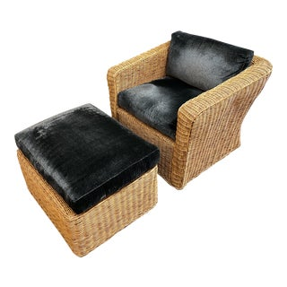 Ink Slate Blue Custom Upholstered Rattan Arm Chair + Ottoman For Sale