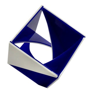 Blue and White Desk Top Lucite Cube Geometric Sculpture For Sale