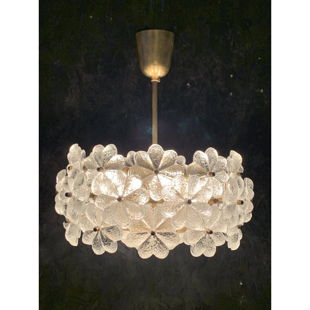 1960s Small Ernst Palme Floral Glass Chandelier For Sale - Image 5 of 10