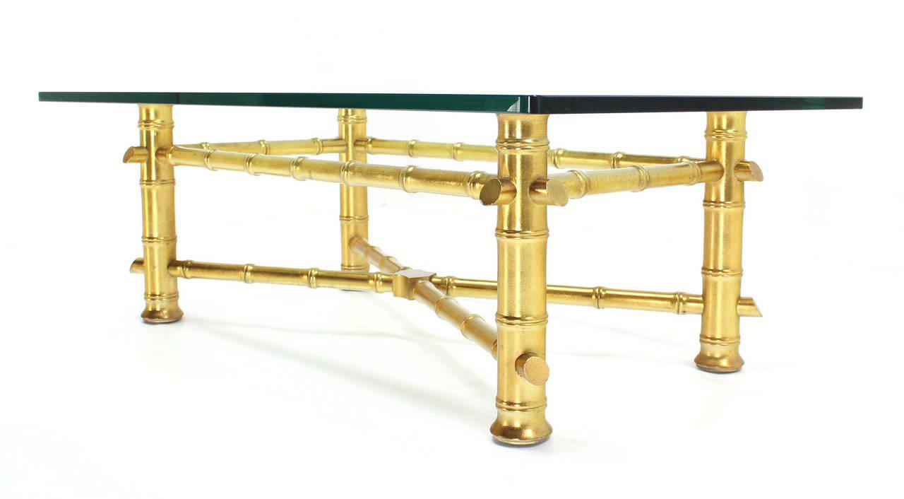 Gold Leaf Faux Bamboo Base Coffee Table With Thick Glass Top   Image 3 Of 7