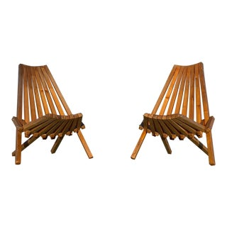 Folding Wooden Adirondack Chairs- a Pair For Sale