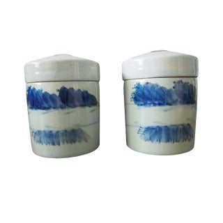 Asian Chinese Blue and White Crockery Containers - a Pair