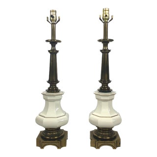 Stiffel White Porcelain and Brass Table Lamps - a Pair For Sale