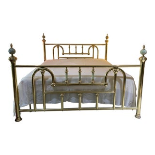 Hollywood Regency Brass California King Bedframe With Onyx Spheres For Sale
