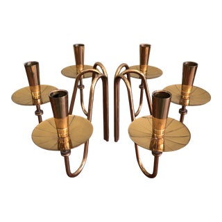 1950s Brass Three-Arm Tabletop Candlesticks by Tommi Parzinger for Dorlyn - a Pair For Sale