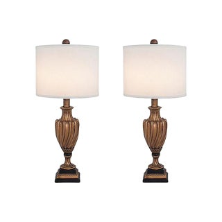 Gilt Swirl Urn Lamps - A Pair For Sale