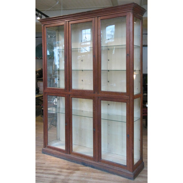 White Large Antique Late 19th C. Oak and Glass Display Cabinet For Sale - Image 8 of 8
