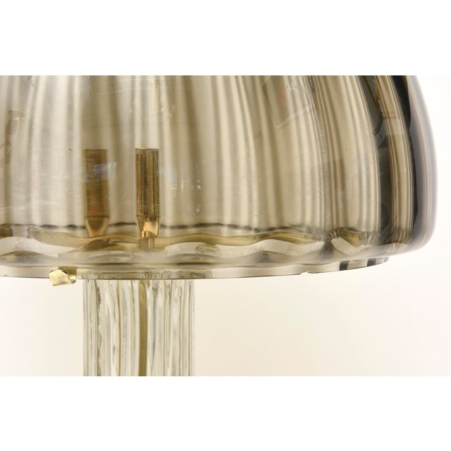 1970s Italian Vintage Murano Vistosi Glass and Polished Brass Dome Table/Desk Lamp For Sale - Image 5 of 10