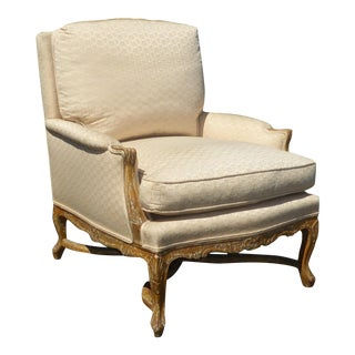 Designer French Country White Accent Chair ~ Crackle Finish W Down Feather Cushion For Sale