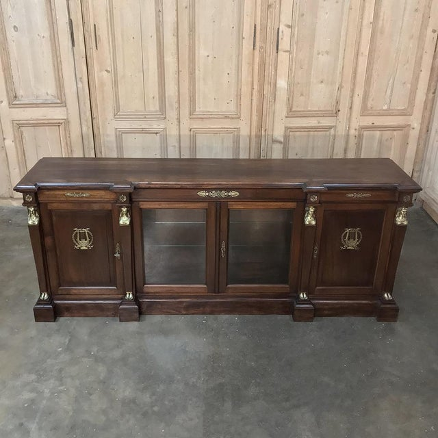 Late 19th Century 19th Century French Empire Mahogany Credenza With Bronze Ormolu For Sale - Image 5 of 12