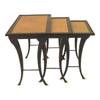 1940s French Mid-Century Ebonized Nest of Tables-Set of 3 For Sale