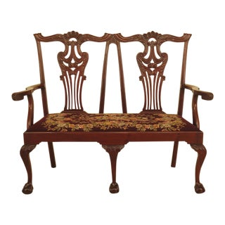 Vintage 1900's Chippendale Mahogany Needlepoint Settee For Sale