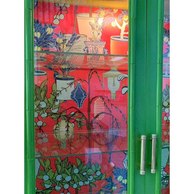 Wood Chinoiserie China Cabinet by Thomasville For Sale - Image 7 of 8