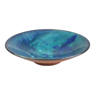 1990s Artisan Clay With Drip Glaze Trinket Bowl For Sale