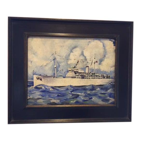 Vintage Mid-Century Cruise Ship Painting - Image 1 of 7