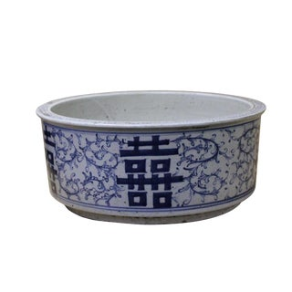 Chinese Vintage Finish Blue White Porcelain Round Pot Planter For Sale