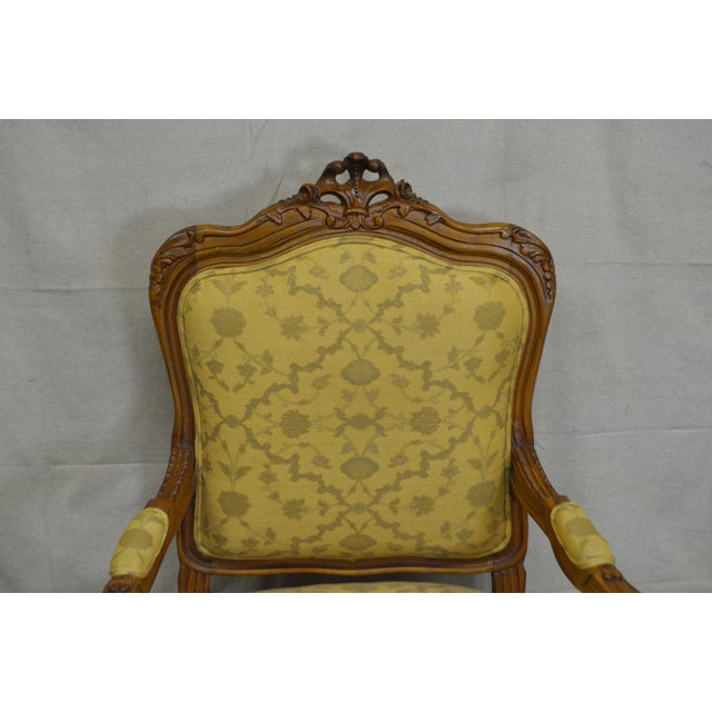 Quality Pair of Custom Upholstered Solid Walnut Louis XV Style Arm Chairs - Image 5 of 10