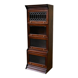 Crafters and Weavers Legacy 4 Stack Barrister Bookcase - Dark Brown For Sale
