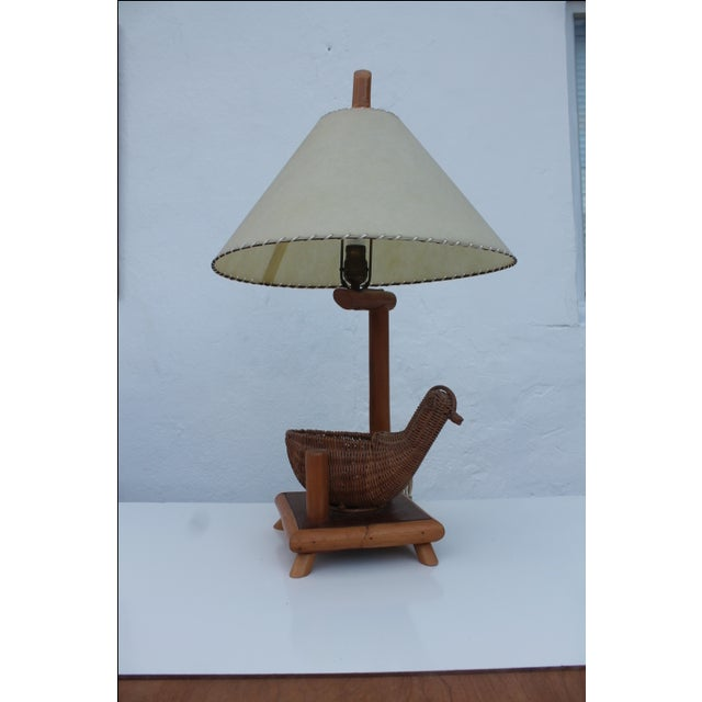 Vintage Rattan Bird and Bamboo Table Lamp - Image 2 of 7