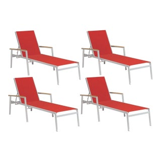 Outdoor Sling Chaise Lounge, Natural and Red (Set of 4) For Sale