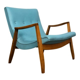 Milo Baughman for James Mid-Century Modern Scoop Chair ~ Turquoise Vinyl For Sale