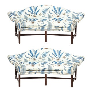 Chippendale Style Mahogany Camelback Sofas - a Pair For Sale