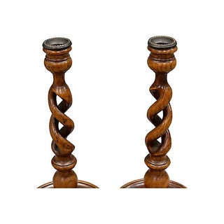 English Oak Open Twist Candle Sticks Preview