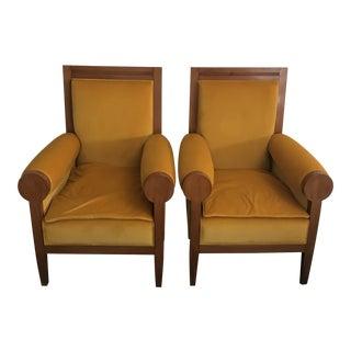 Pair of Italian Art Deco Yellow Velvet Chairs - Reupholstered For Sale