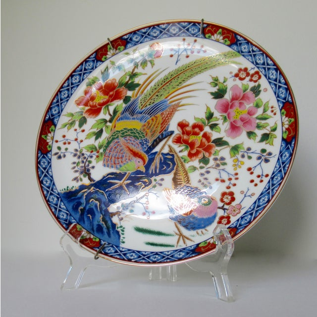 Asian Style Vintage Hand-Painted Porcelain Japanese Imari Decorative Wall Plate For Sale - Image 4 of 13