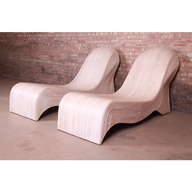 Betty Cobonpue Sculptural Split Reed Rattan Chaise Lounges, Pair For Sale - Image 13 of 13