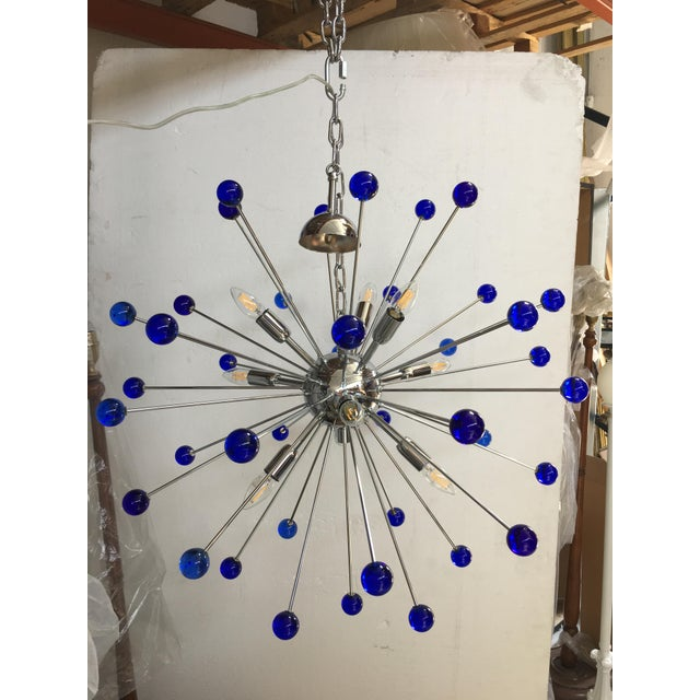 Dark Blue Murano Glass Chandelier in Sputnik Style With a Chrome Frame For Sale - Image 6 of 6