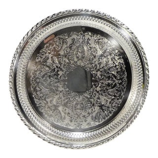 Vintage Round Engraved Silverplate Reticulated Rope Twist Banding Serving Tray For Sale