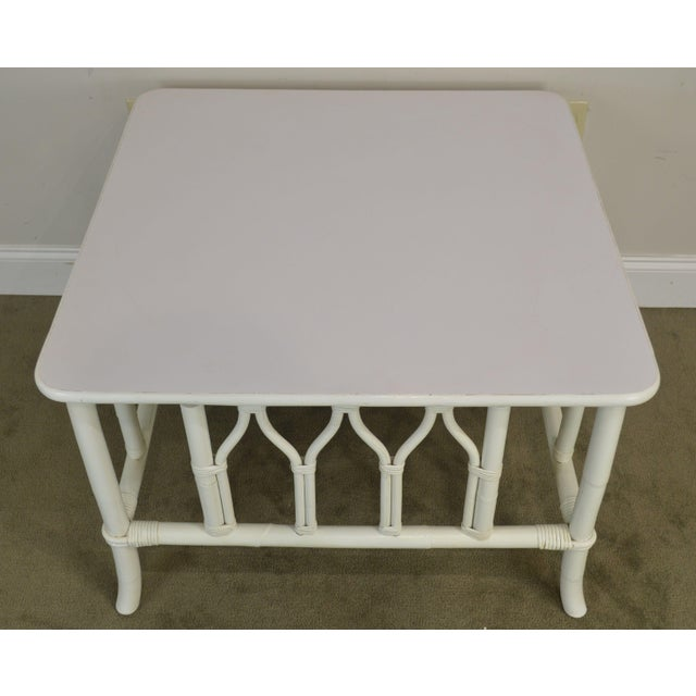 Rattan Ficks Reed White Painted Square Rattan Coffee Table For Sale - Image 7 of 13