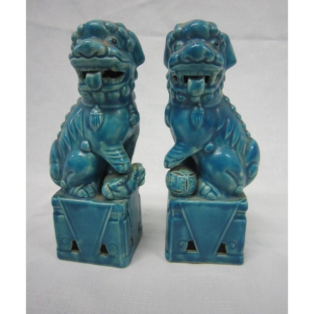 Japanese Turquoise Foo Dogs - A Pair - Image 3 of 7