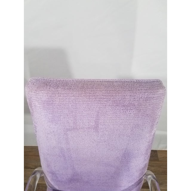 Purple Vintage Mid Century Tri-Mark Tulip Purple and Lucite High Back Chairs- Set of 4 For Sale - Image 8 of 13