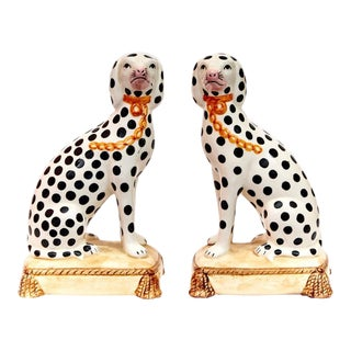 Staffordshire Style Porcelain Dalmatian Figurines - a Pair For Sale