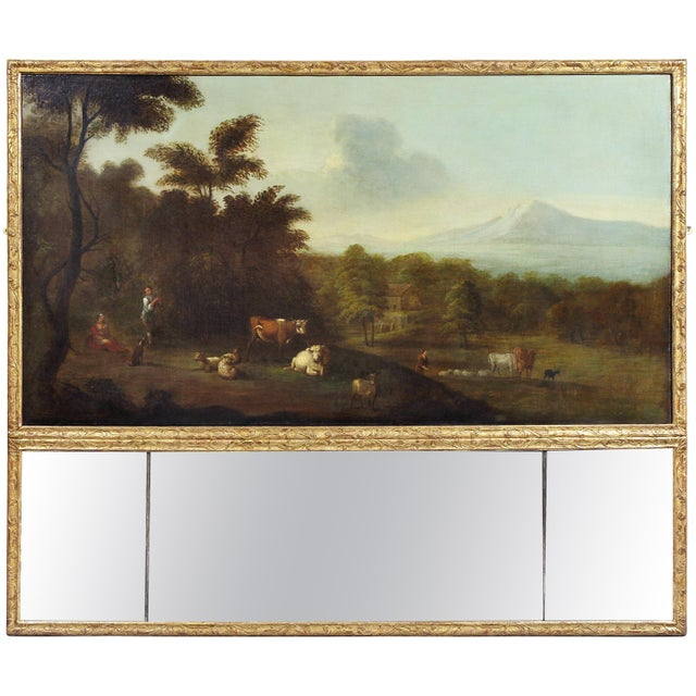 Georgian Giltwood Overmantle Mirror with Oil on Canvas Pastoral Scene Painting For Sale - Image 11 of 11